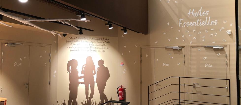 Silhouettes et messages de marques en adhésif mural magasin cosmetiques bio AROMA ZONE LYON