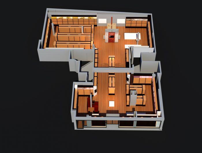 Plan d'aménagement 3D mobilier, gondole Retif City Nice