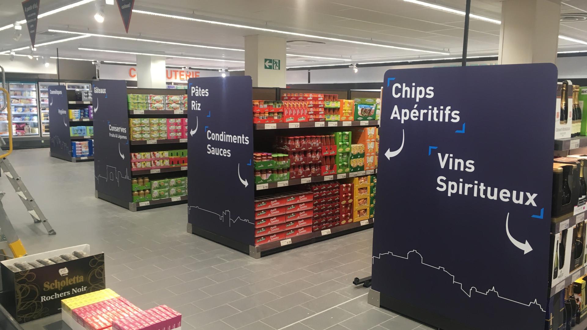 CLV tête de gondole dibon signalétique famille produits dans un supermarché ALDI
