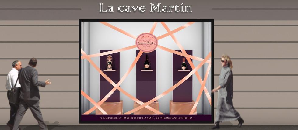 Projection 3D Vitrine habillage Champagne Laurent Pierrier