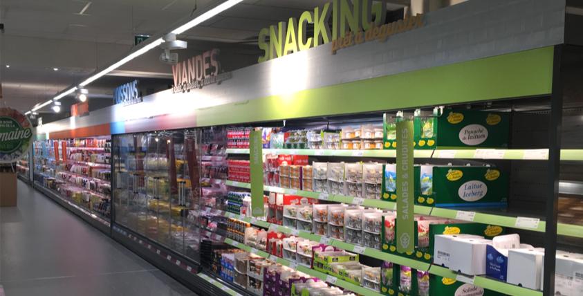 CLV lettrage découpé rayon famille produits dans un supermarché ALDI