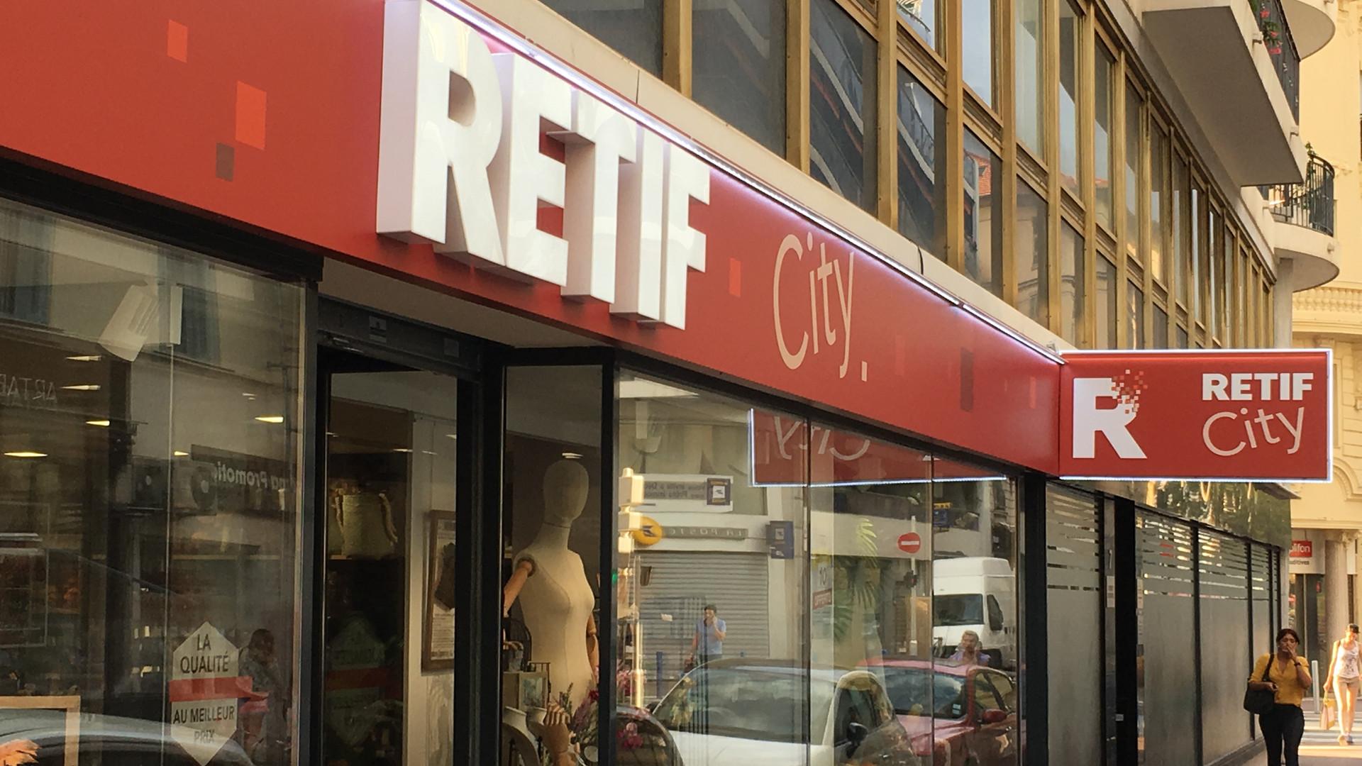 Enseigne sur mesure en dibon et lettrage découpé Retif City Nice