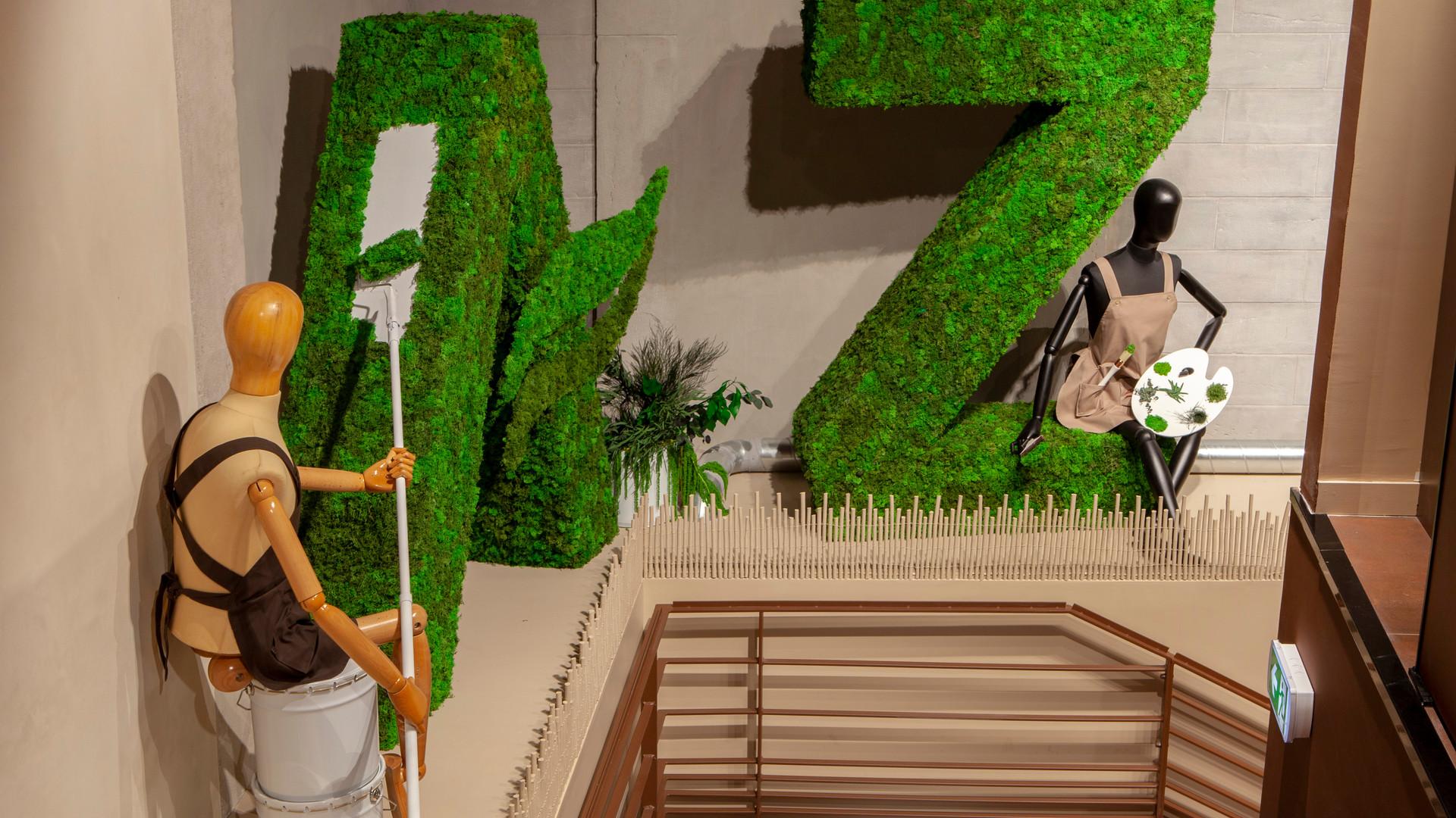Enseigne végétale théatralisation de marque magasin cosmetiques bio AROMA ZONE LYON