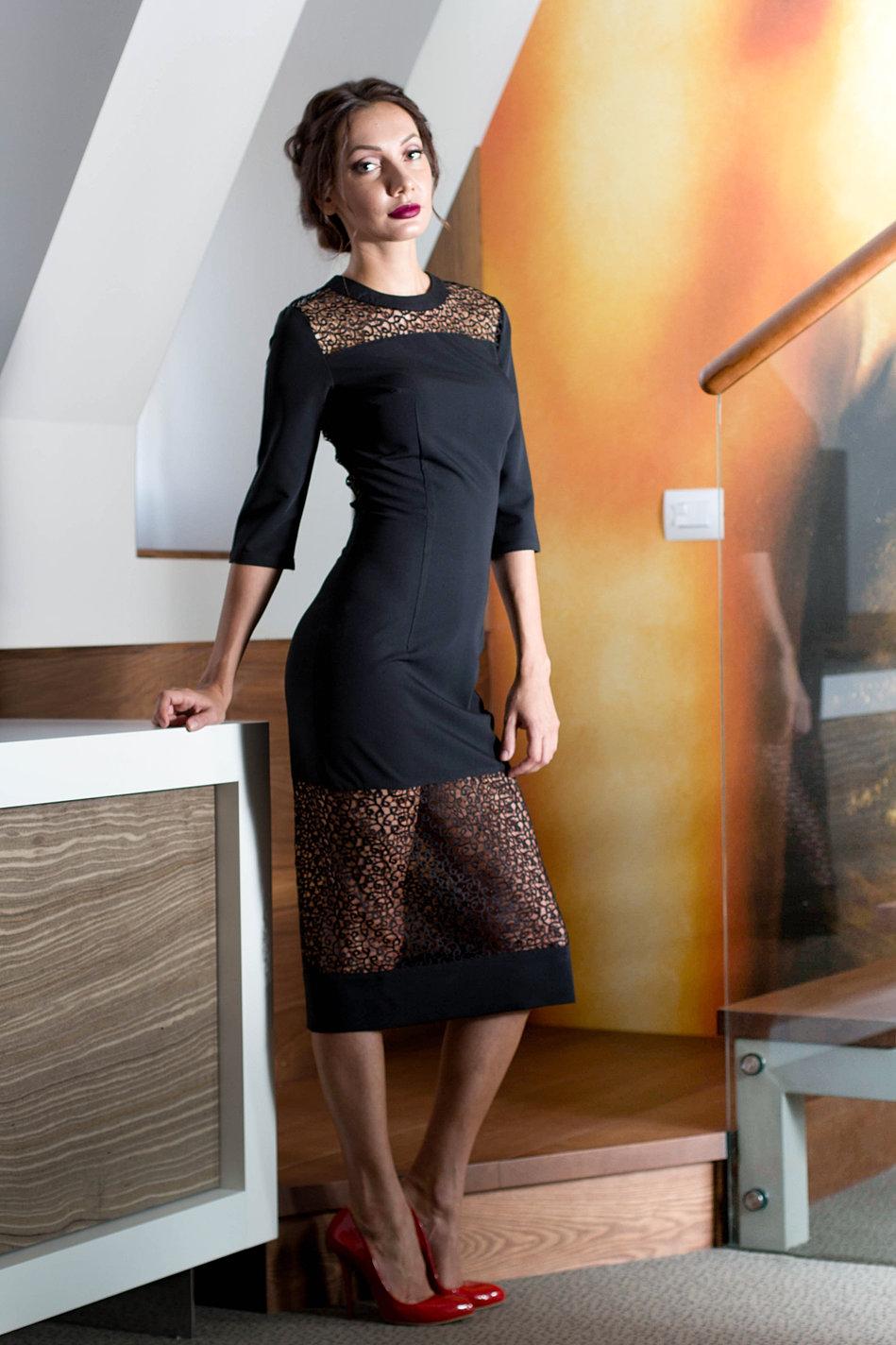 Отделка кружевом низа платья