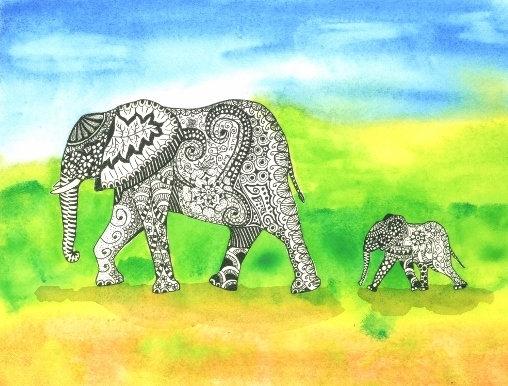 Elephants - Framed Original
