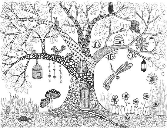 Happy Tree (Black & White) - Unframed Print