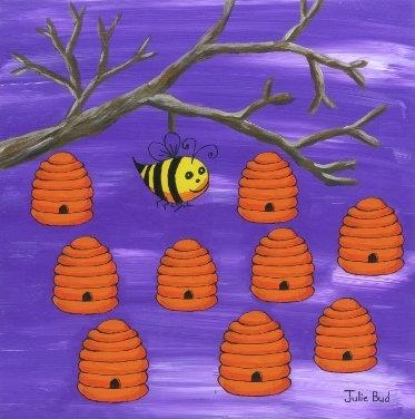 Happy Bee Hives - Unframed Print