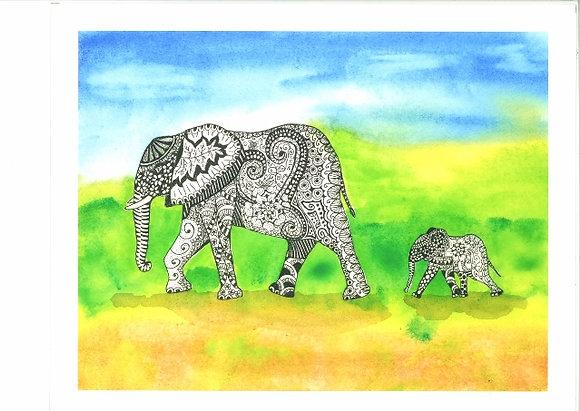 Elephants - Unframed Print