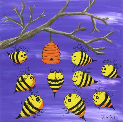 Happy Bees - Unframed Print