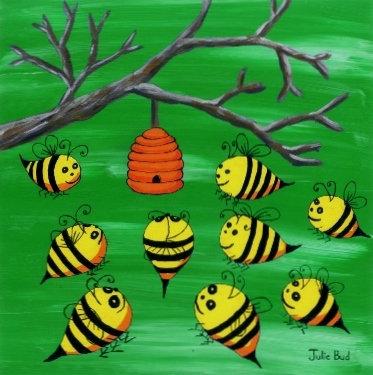 Happy Bees Green - Unframed Print