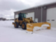 payloader with snow pusher