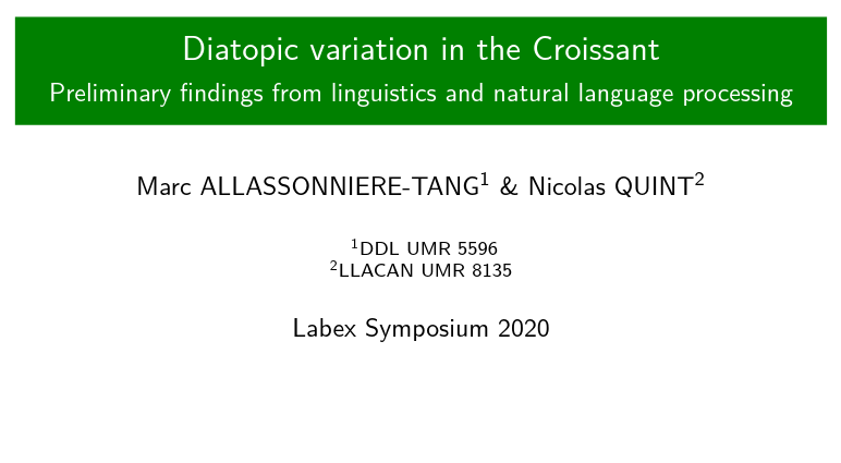Phonetic analysis of diatopic variation
