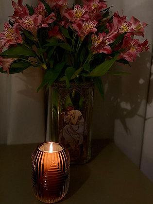 Scented candle European  brown glass art nouveau