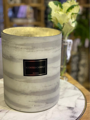 White & Gray 30 cm Tall Scented Candle