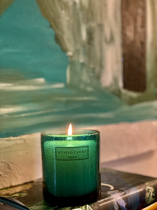 scented candle in a  Turquoise handmade glass