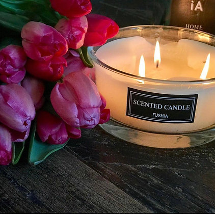 Xl Black Scented candle clear glass