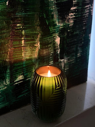 Sented candle in a beutiful European art nouveau  glass