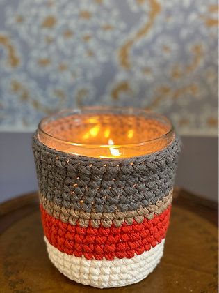 Height 13.5 cm  Q12cm Our scented candle with hand made unique crochet by KUCHIN