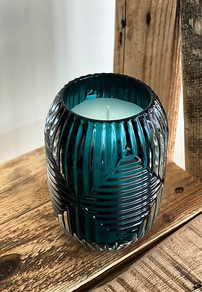 Scented candle European turquoise glass art nouveau