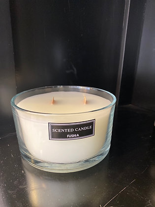 Clear scented candle woodewick