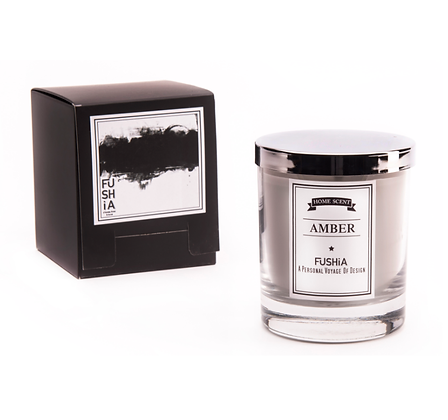 Amber Scented Candle – Elegant Silver Cover