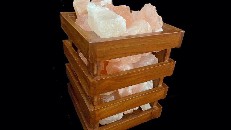 Rock Salt Lamp / Wooden Basket