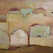 Ørkenhuse, 92x100, olie på lærred