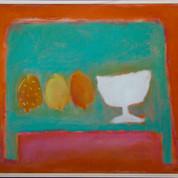 3 citroner og en skål. 40x48, olie på lærred