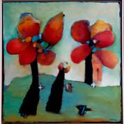 Blomsterbillede, 50x60, olie på lærred
