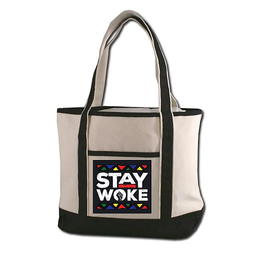 """""""Stay Woke"""" Durable Canvas Tote"""