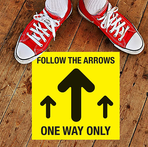 FOLLOW ARROW, ONE WAY ONLY FLOOR STICKERS