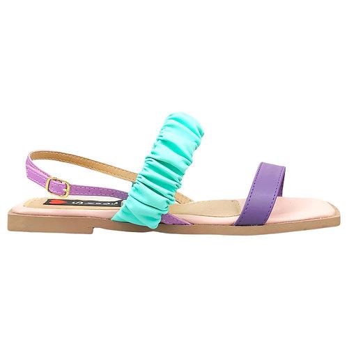 Sandália Rasteira Bico Quadrado Tiras Largas Frizadas Colors Candy Rosa