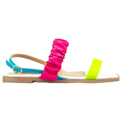 Sandália Rasteira Bico Quadrado Tiras Largas Frizadas Colors Pink Lemon