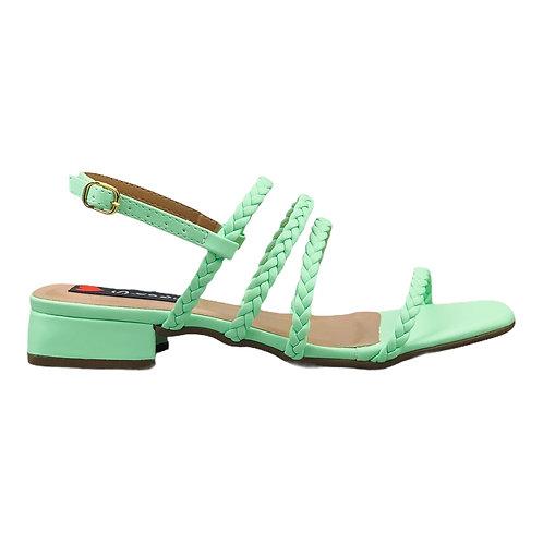 Sandália 4 Tiras Trança Verde Abacate