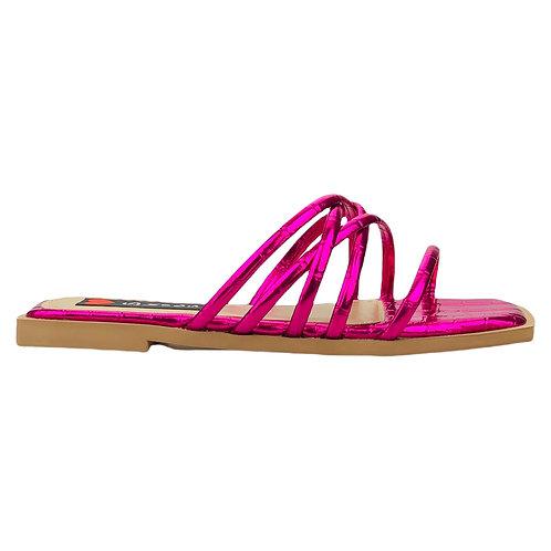 Rasteira Flat Bico Quadrado Tiras Cruzadas Croco Pink