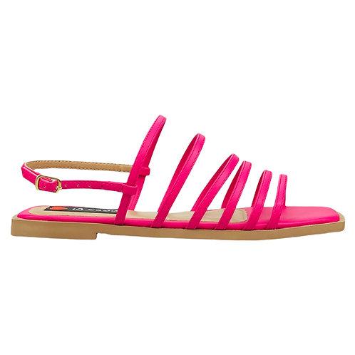 Sandália Rasteira Bico Quadrado Tirinhas Delicadas Pink