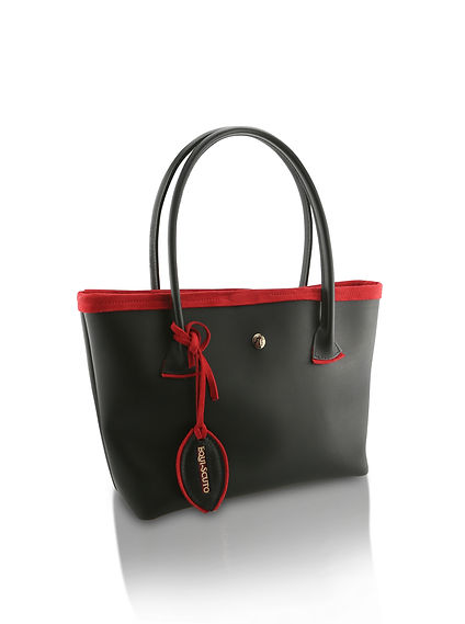 Tote bag, leather, equi-scuto, red suede, bespoke , yorkshire , handmade in the uk