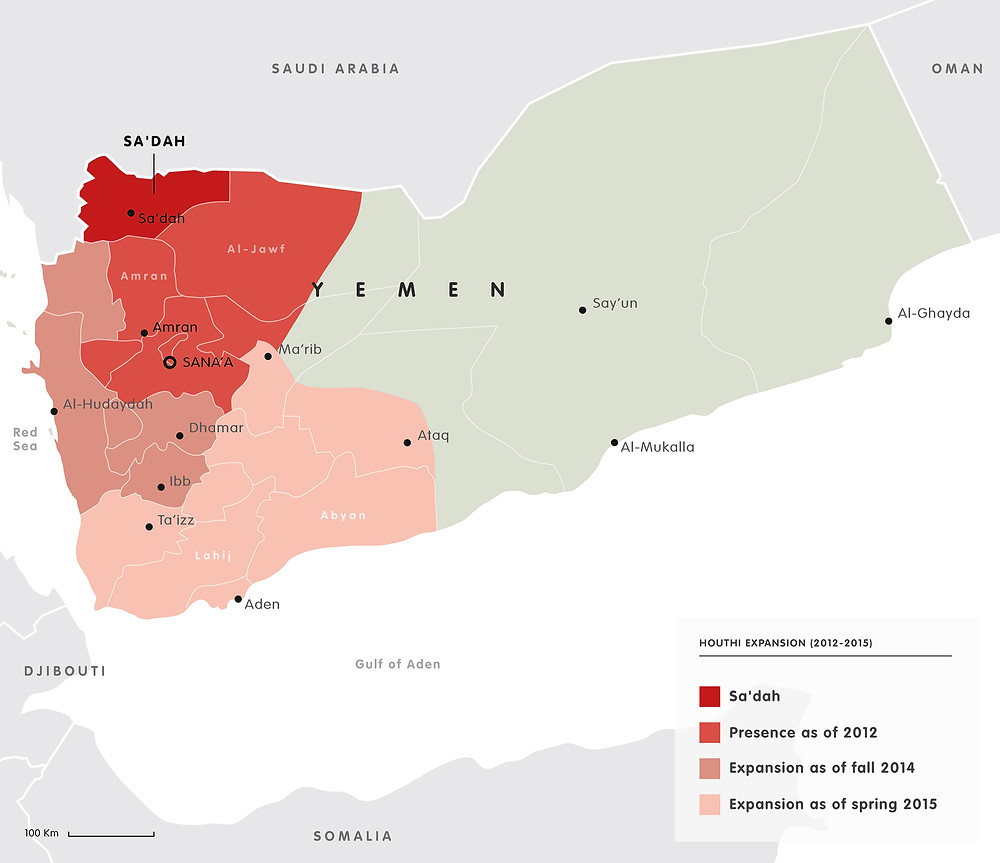 Houthi expansion from the year of 2012 until 2015