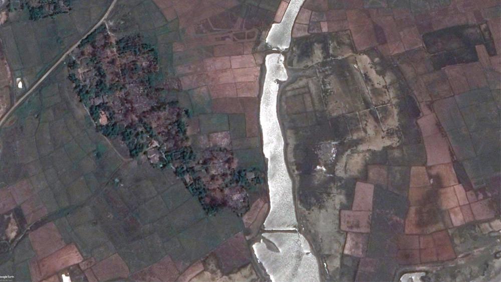 Satellite images of Maw village in Rakhine State show razed buildings [nternational Cyber Policy Centre, ASPI]