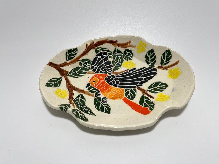 Orange Bird with Yellow Flowers Small Dish