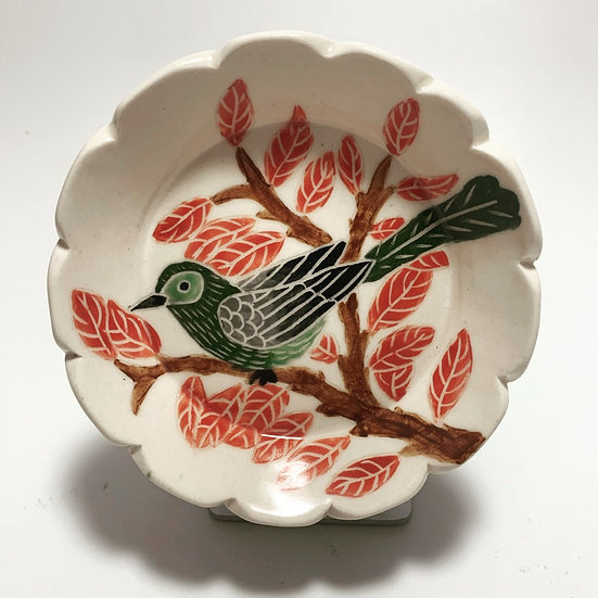 Green Bird with Fall Leaves Small Dish