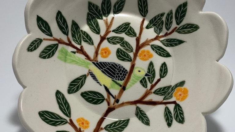 Green Bird with Orange Flowers Bowl
