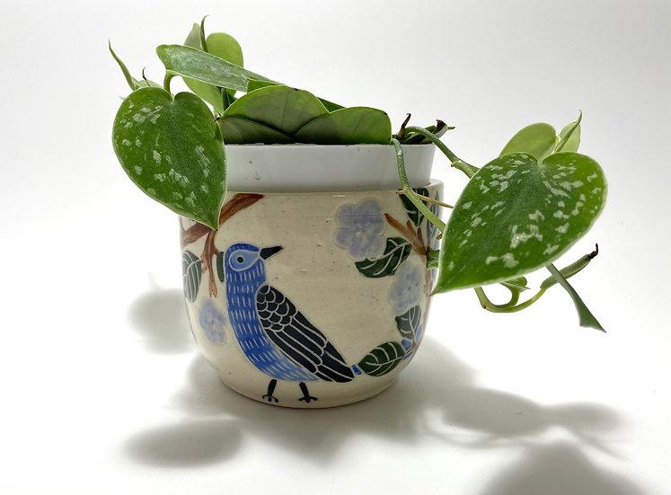 "Blue Birds with Purple Flowers 4"" Flower Pot"
