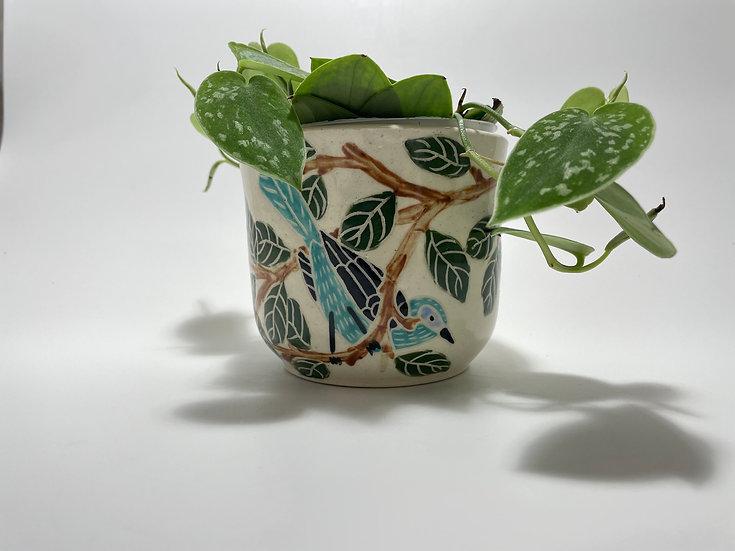 "Turquoise Birds with Lemons 4"" Flower Pot"