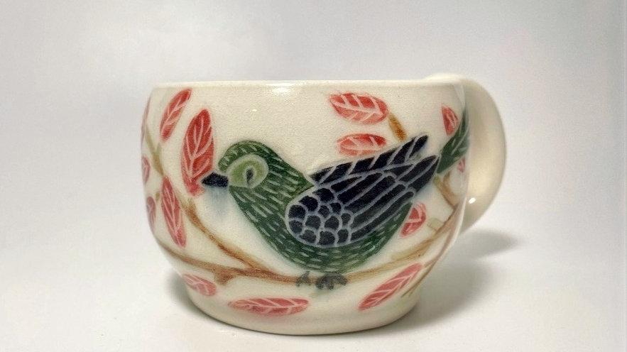 Green Bird with Fall Leaves 8oz Mug