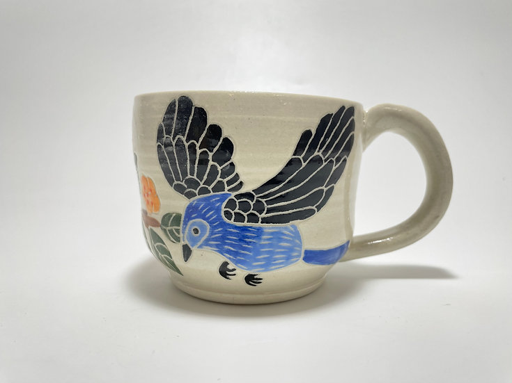 Blue Birds with Orange Flowers 12oz Mug