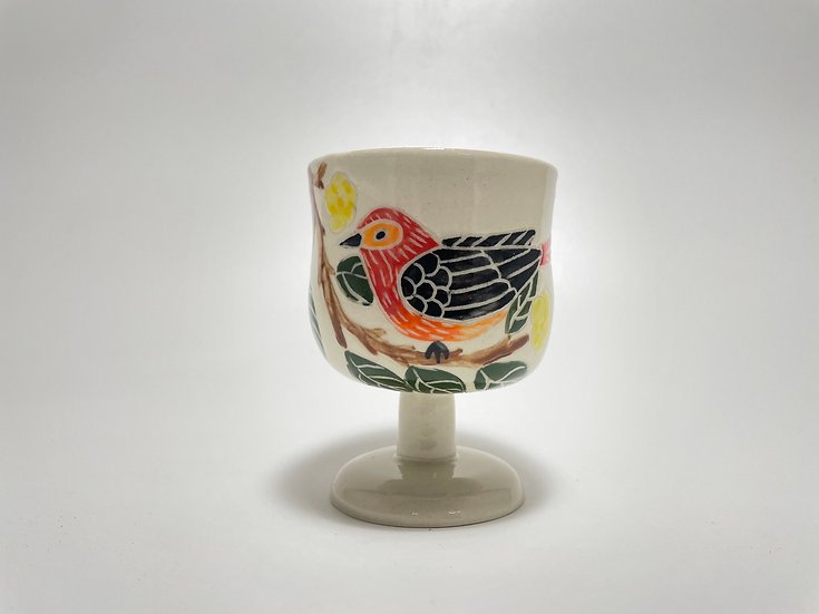 Red Birds with Yellow Flowers Kiddush/Miriam Cup