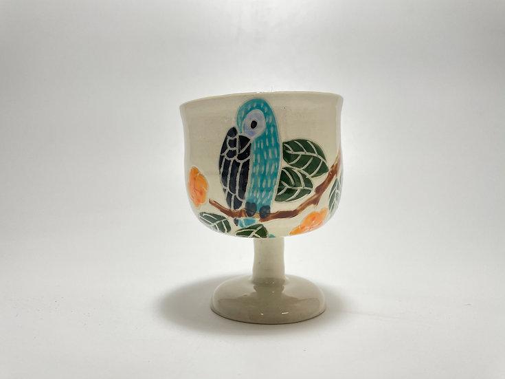 Turquoise Birds with Orange Flowers Kiddush/Miriam Cup