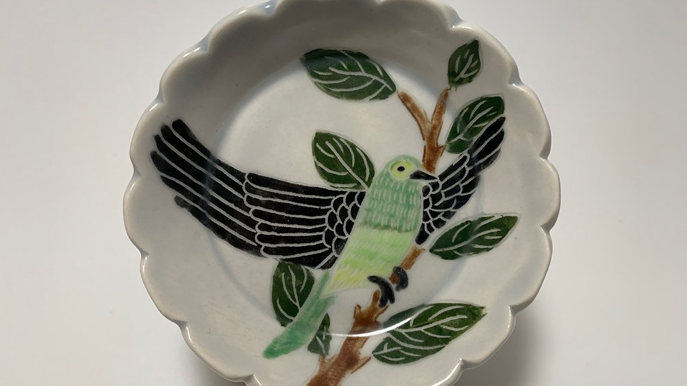 Green Bird with Branch Small Dish