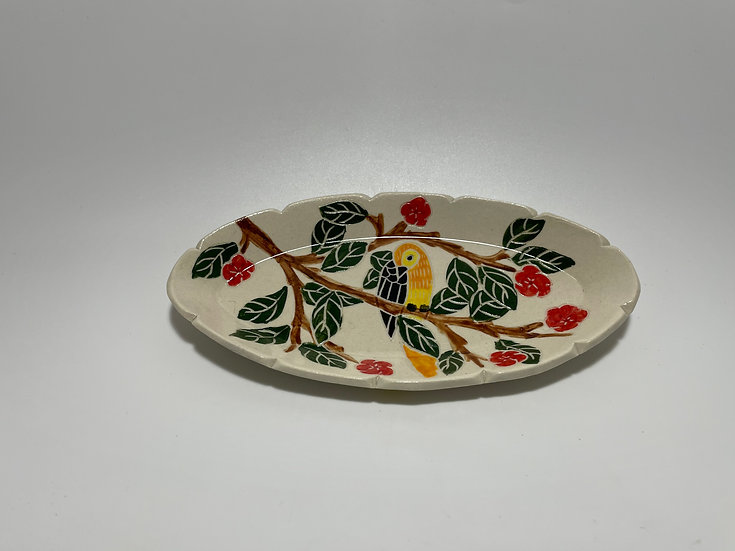 Orange Bird with Red Flowers Small Dish